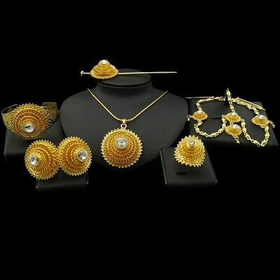 Jewelry-Sets Earrings Wedding-Jewellery Necklace Bracelets Ethiopian Gold-Color Hairpin