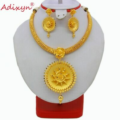 Jewelry-Set Earrings Necklace Gold-Color/copper-Jewelry African/ethiopian India Wedding-Gifts