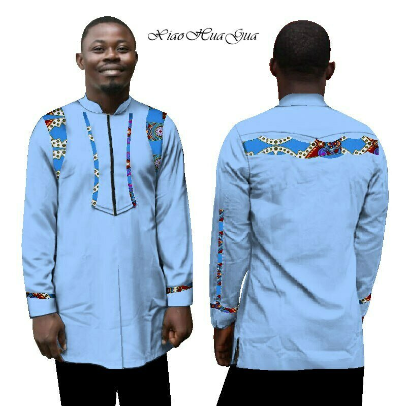 New Autumn African Clothes Men Dashiki Shirt African Print Patchwork Clothing Slim Fit Long Sleeve Shirt Casual WYN243