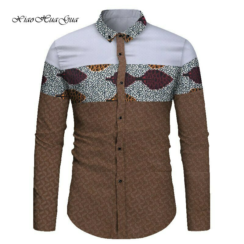 Men African Shirt Long Sleeve African Print Patchwork Shirt Bazin Riche Traditional Tops Dashiki African Clothes for Men WYN867