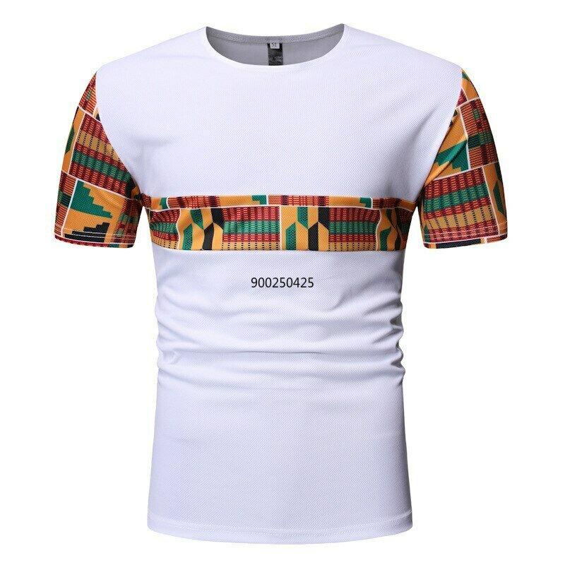 African Dashiki T-Shirt Streetwear Patchwork New XXL White Summer Casual Men Camisetas