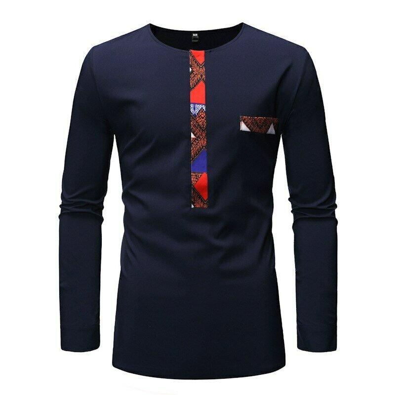 Tee African Clothes Shirt Dashiki-Print Streetwear Patchwork Long-Sleeve Slim Casual