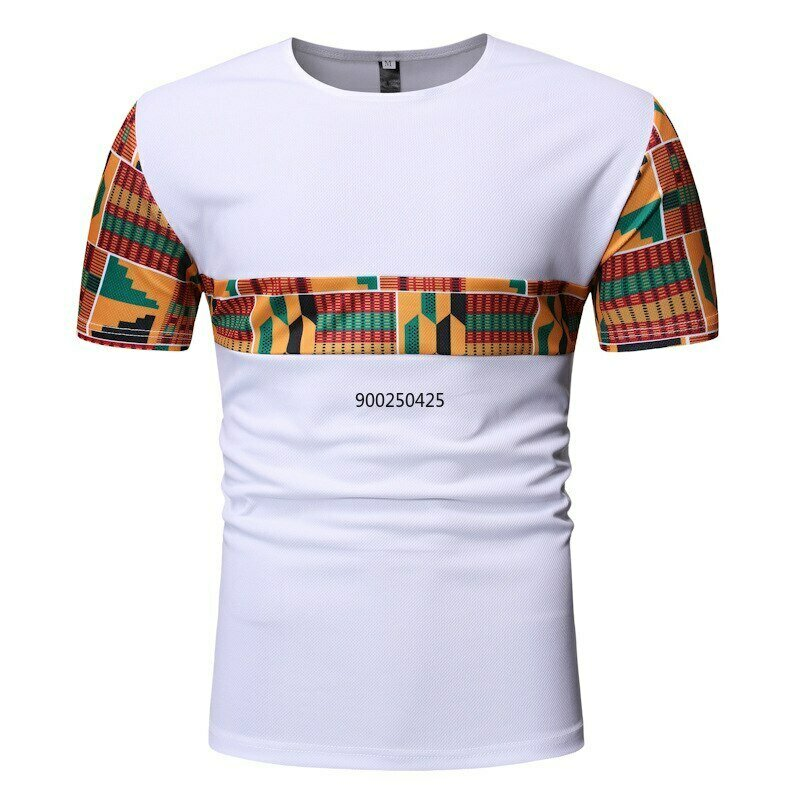 White Patchwork African Dashiki T Shirt Men 2020 Summer New Short Sleeve African Clothes Streetwear Casual Camisetas Hombre XXL