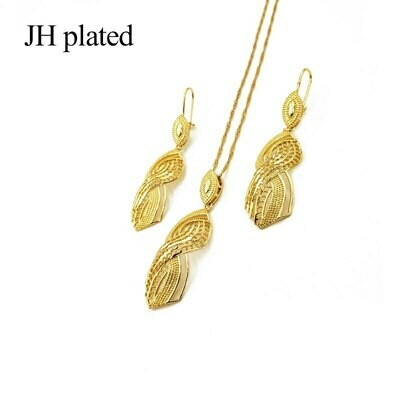 Pendant Earrings Ethiopian Jewelry Necklace Gold-Color Women Jhplated Wedding