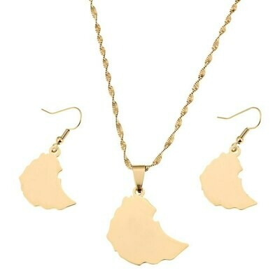 Necklaces Pendant-Earrings Ethiopia-Jewelry-Set Gold-Color Women for Map of