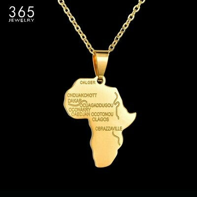 Pendant Necklace Charm Ethiopian-Jewelry Africa-Map Hip-Hop Stainless-Steel Party-Gift