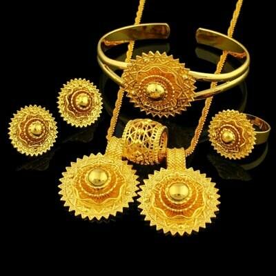Jewelry-Sets Ethiopian Bangle/pendant Wedding-Bridal Gold-Color Nigeria/arab-Items 24K