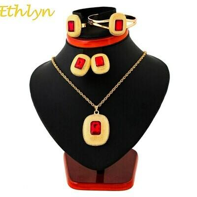 Bangle Earrings Jewelry-Sets Necklaces Ethiopian Gift Wedding-Habesha Bride Ethlyn Africa