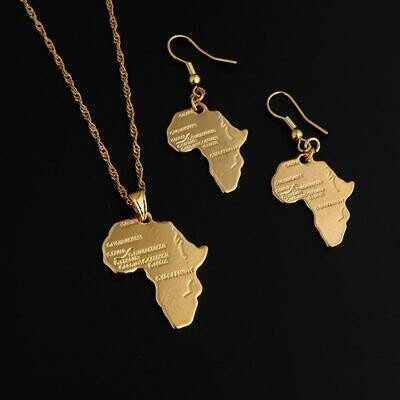 Ethiopian Gold Color Africa Map Necklace Earrings Pendant For African Wedding Jewelry