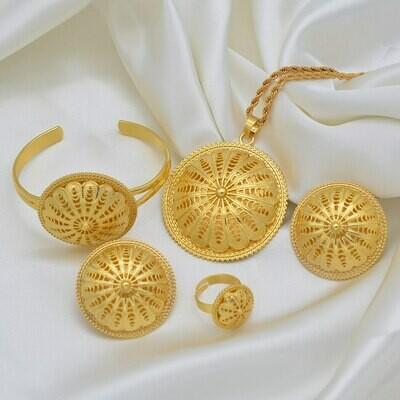 Ring-Bracelet Necklaces Earrings Wedding-Jewelry-Sets Eritrean Pendant Ethiopian Anniyo