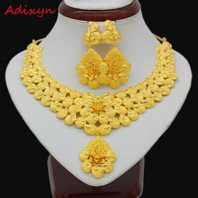 Jewelry Women Earrings-Set Necklace Gold Ethiopian/african Wedding-Accessories Flowers