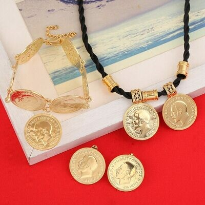 Jewelry-Sets Coin-Set Ring-Bracelet Pendant Earrings Ethiopian Gold-Coin