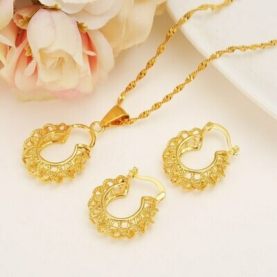 Pendant Necklace Earring Jewelry-Bag Ethiopian-Set Bridal Girlsgift Gold-Color African