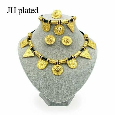 Jewelry-Sets Rope-Earrings Ethiopian Gifts Bridal Gold-Color Women Wedding