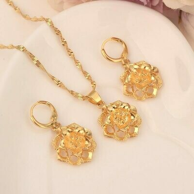 Earrings Jewelry-Sets Necklace Flower-Ethiopian Bridals Habesha Eritrea Gift Pendnat
