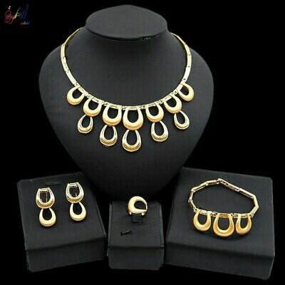 Jewelry-Sets Bracelet-Ring Necklace Stud-Earrings Ethiopian Parure Wholesale African