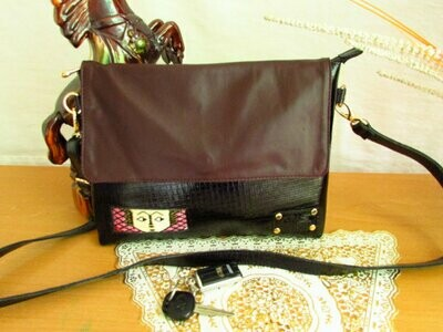 Black and Brown Leather Messanger Bag -Crocodile Print Leather -Soft Sheep Leather