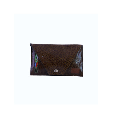 Crocodile print envelop clutch, Root in style signature clutch