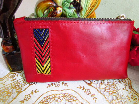 Red Leather mini Women's Wallet -Women Coin Purse -Women Mini Wallet