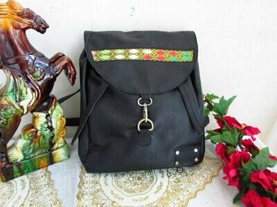 Black Soft Leather Backpack-Black Leather Bag-School Backpack