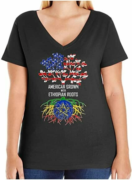 HARD EDGE DESIGN Women's American Grown with Ethiopian Roots T-Shirt