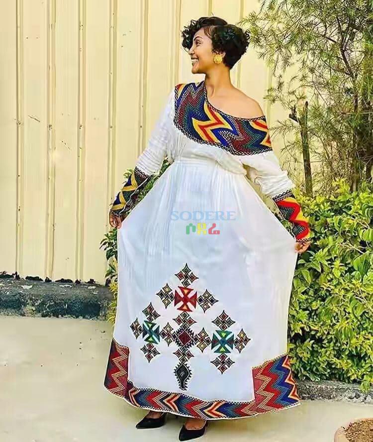 ረዘም ያለ የሀበሻ ቀሚስ  Ethiopian Traditional Long Dress - 6 Style