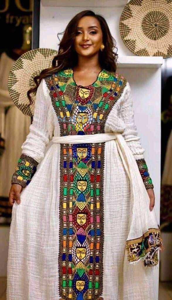 ረዘም ያለ የሀበሻ ቀሚስ  Ethiopian Traditional Long Dress - made to order