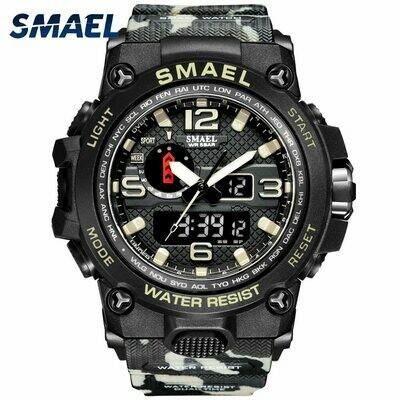 SMAEL Watches For Men 50M Waterproof Clock Alarm reloj hombre 1545D Dual Display Wristwatch