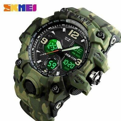 Men Sports Watches Clock 5bar Quartz Japanese Movement Digital 1155B SKMEI Military Army-Cowboy