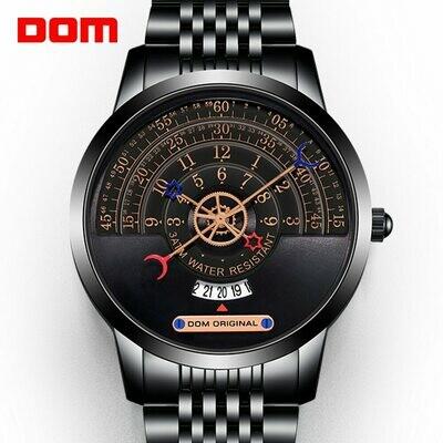 Quartz-Watch DOM Calendar Gold Black Waterproof High-Quality Multi-Function Has Metal