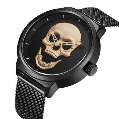 Male Wristwatch Skeleton Skull-Pattern Black Quartz Stainless-Steel Gold Top-Brand Fashion