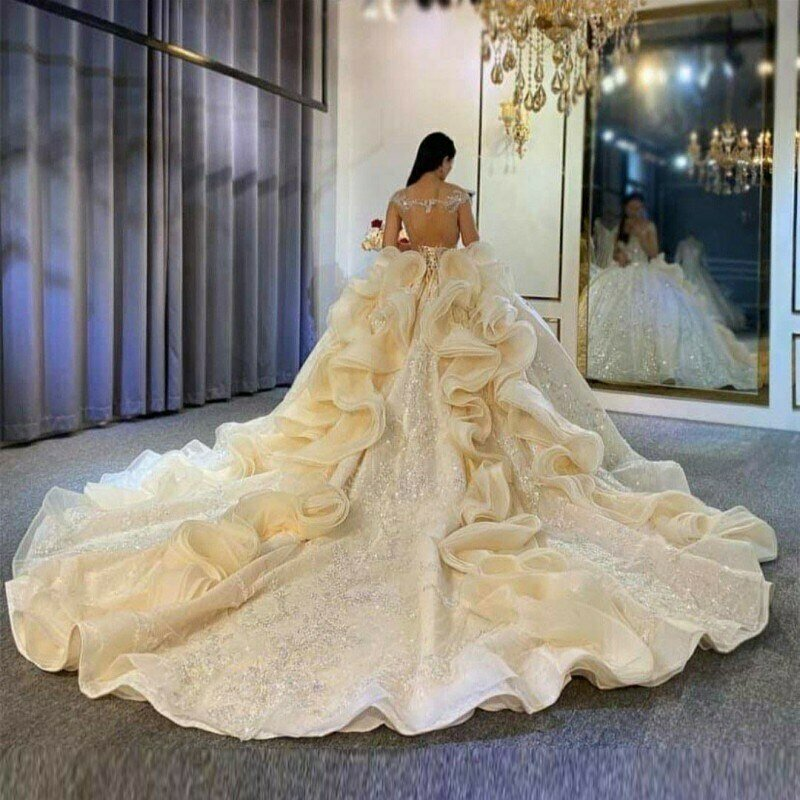 Wedding-Dresses Lace 3d Ball-Gowns Beaded Flower Sparkle Long-Train Gorgeous Crystal