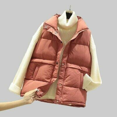 Sleeveless Vest Jacket Padded Plus-Size Winter Cotton Veats Women Female Warm Waistcoat