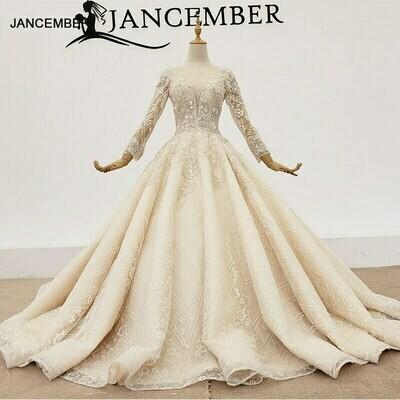 Wedding-Dresses Crystal Pearls Big-Ball Long-Sleeves Mariage Neckline-Beads