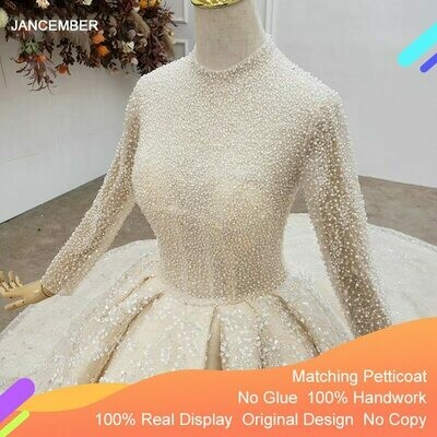 Decorated Ball-Gown Wedding-Dresses Champagne Tulled Pearls No O-Neck with Three-Quarter-Sleeve
