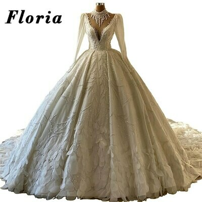 Wedding-Dresses Heavy-Beading Rhinestone Long-Sleeve Arabia Luxury New Saudi No Vestido-De-Novia