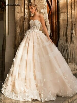 Wedding-Dress Bridal-Beaded Ball-Gown Lace Long-Sleeves Real-Photos Princess Luxury No
