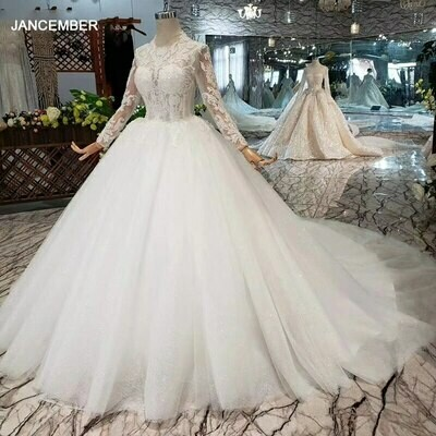 Ball-Gown Bride-Dress Special Bead Appliques Long-Train Long-Sleeve Crystal O-Neck Sposa
