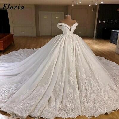 Wedding-Dresses Robe-De-Mariee Crystals Gorgeous Beaded Arabic Saudi Dubai Long Abendkleider