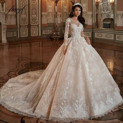 Wedding-Dress Beaded Half-Puff-Sleeve Ball-Gown High-Neck Crystal Back Lace-Up