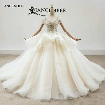 Wedding-Dresses Detachable-Train Long-Sleeves Muslim White High-Neck with Like HTL358
