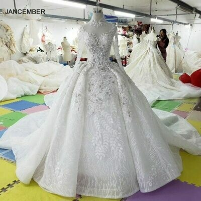 Ball-Gowns Wedding-Dress Square-Collar Applique Petite Sequin Long-Sleeve Bride Backless