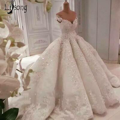 Ball-Gown Wedding-Dress Sexy Simple Sequin Long-Sleeve Applique Crystal Deep V-Neck HTL1365