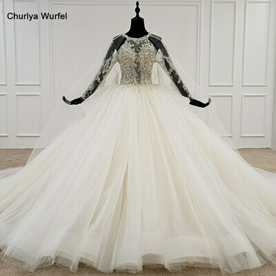 Wedding-Dress Ball-Gown Train Bride Long-Chapel Custom-Made Real-Photo Plus-Size Lace