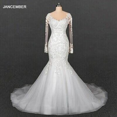 Wedding-Dress Puff-Sleeve Sequin Deep-V-Neck Elegant Crystal Short Back Lace-Up HTL1937