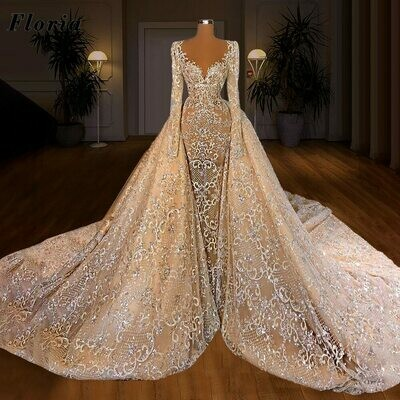 Ball-Gown Wedding-Dresses Long-Sleeves Muslim White O-Neck Floor-Length with Beauty Like