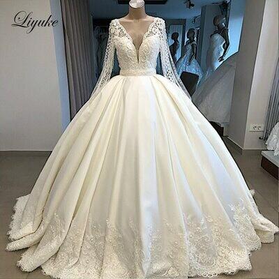 Wedding-Dresses Bridal-Gown Muslim Amanda Novias Luxury Modeller Sequined Court-Train