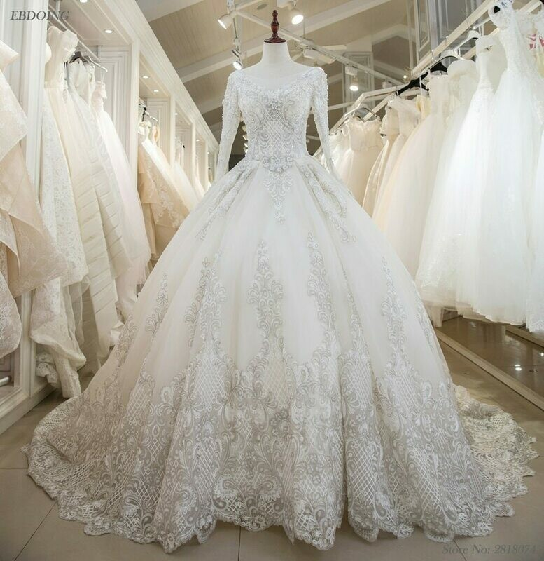 Wedding-Dresses Ball-Gown Elie Saab Beads Sequined Appliques Luxury Chapel 3D No Square