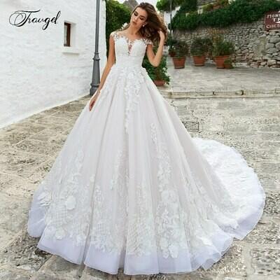 Wedding-Dresses Pearls Long-Sleeves Mermaid Lceland Poppy Beaded Lace Luxury Floor-Length