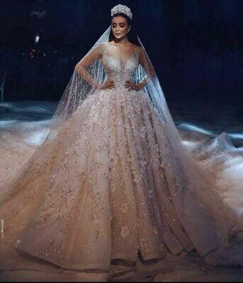 Bridal-Gown Bride-Dresses Beading Gorgeous Robe-De-Mariee Princess V-Neck A-Line Custom-Made